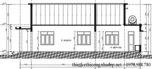 Mặt bên nhà cấp 4 mái tôn 7.5x17m