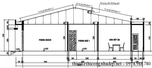 Mặt cắt nhà cấp 4 4 x14m