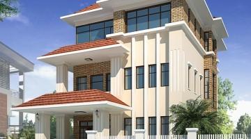 Thiết kế mẫu nhà biệt thự đẹp 3 tầng mái thái 14x23m