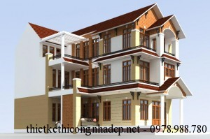 Mẫu phối cảnh thiết kế mặt tiền nhà phố 3 tầng đẹp 9x11m