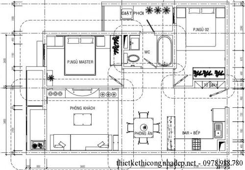 Mặt bằng bố trí nội thất nhà phố 7x10m