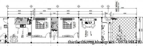 Mặt bằng nhà ống cấp 4 5x19m