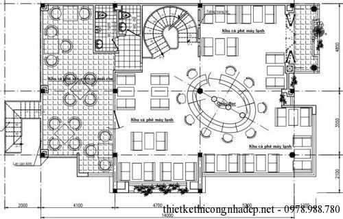 Mặt bằng nội thất tầng 2 quán cafe