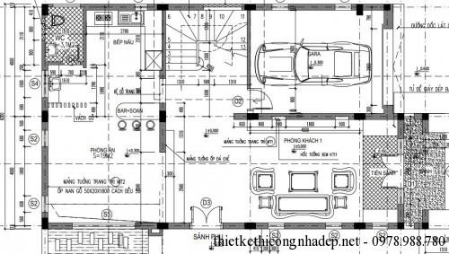 Mặt bằng tầng 1 biệt thự 3 tầng 8x14m