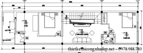 Mặt bằng tầng 1 nhà phố 3x18m