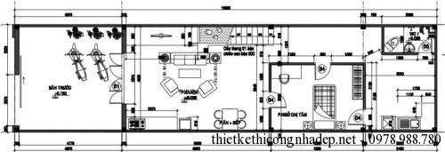 Mặt bằng tầng 1 nhà phố 2 tầng 5x15m