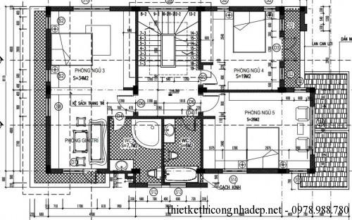 Mặt bằng tầng 2 biệt thự 3 tầng 8x14m