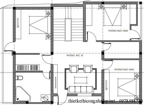 Mặt bằng tầng 2 biệt thự 3 tầng 9x12m