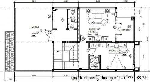Mặt bằng tầng 2 biệt thự phố 3 tầng 8x16m
