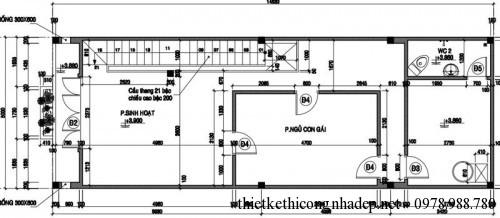 Mặt bằng tầng 2 nhà phố 2 tầng 5x15m