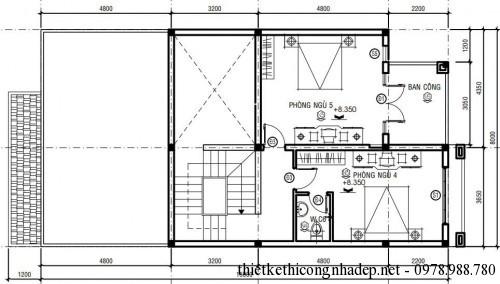 Mặt bằng tầng 3 biệt thự phố 3 tầng 8x16m