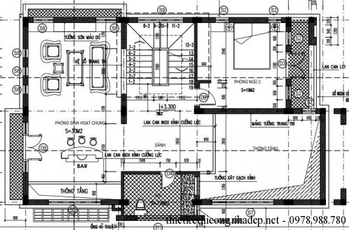 Mặt bằng tầng lửng biệt thự 3 tầng 8x14m