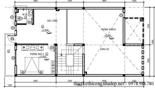 Mặt bằng tầng lửng biệt thự phố 3 tầng 8x16m