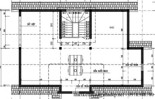Mặt bằng tầng tum biệt thự 3 tầng 8x14m