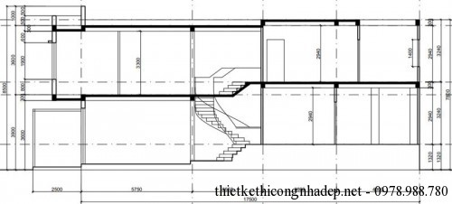 mặt cắt nhà phố 2 tầng 4.5x20m