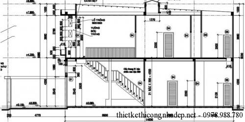 Mặt cắt nhà phố 2 tầng 5x15m