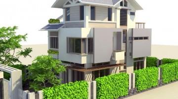 Bản thiết kế nhà biệt thự sân vườn hiện đại 3 tầng 8x14m