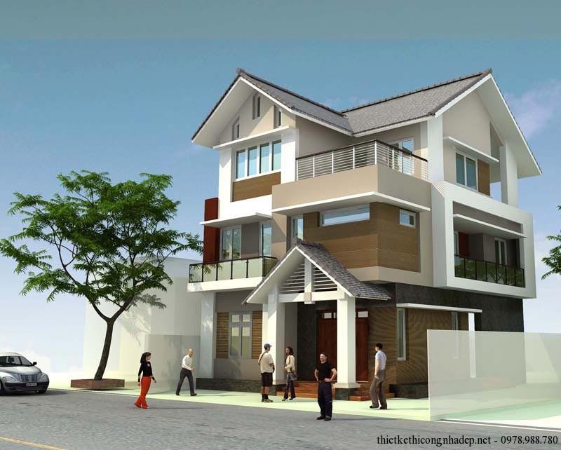 Mẫu thiết kế biệt thự nhà phố 3 tầng hiện đại 9x12m
