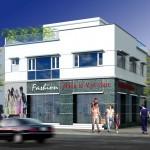 Thiết kế mặt tiền cửa hàng showroom thời trang 10x11m