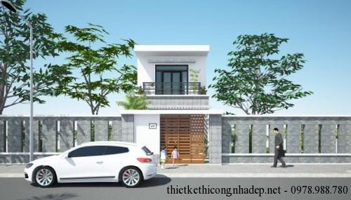 Bản vẽ thiết kế nhà phố 2 tầng 75m2 mái tôn 5x15m