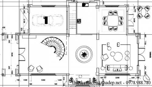 Mặt bằng tầng 1 nội thất biệt thự