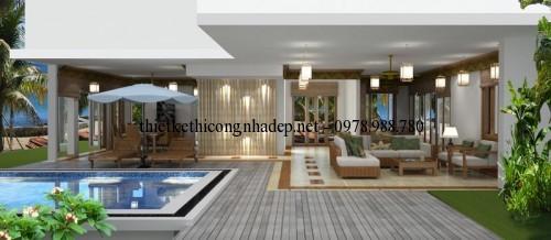 Phối cảnh bể bơi và phòng khách