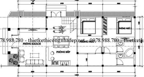 Mặt bằng tầng 1 nhà cấp 4 gác lửng 6x14m pa2