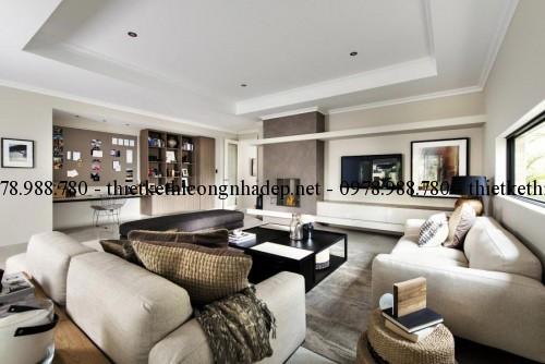 Phòng khách và tủ trang trí biệt thự 13x30m