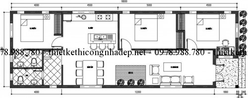 Mặt bằng nội thất nhà cấp 4 6x18m