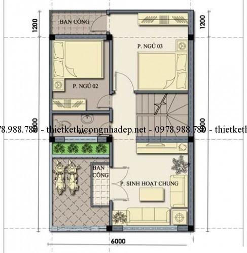 Mặt bằng tầng 2 nhà 2.5 tầng 6x8m