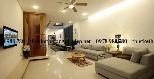 Phòng khách và phòng ăn nhà cấp 4 6x18m