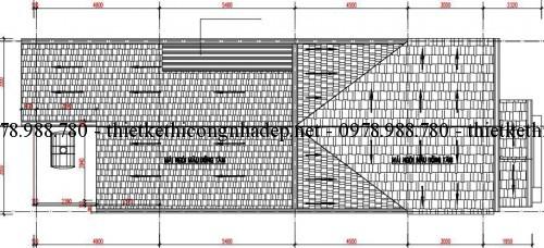 Mặt bằng mái nhà cấp 4 7x18m