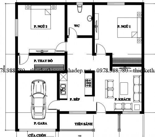 Mặt bằng nội thất nhà cấp 4 11.5x11.5m