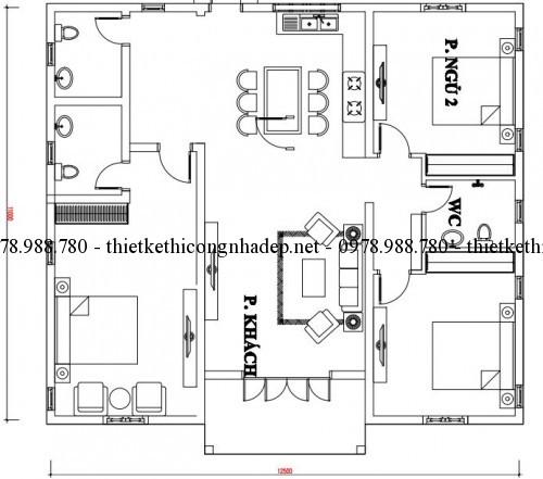 Mặt bằng nội thất nhà một tầng 11x12.5m