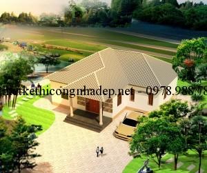 Thiết kế biệt thự nhà vườn 1 tầng mái thái đẹp 130m2