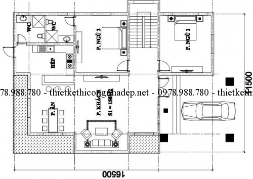 Mặt bằng tầng 1 biệt thự mái thái 250m2