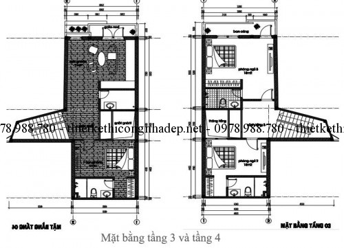 Mặt bằng tầng 3 và 4 nhà phố 5x12m