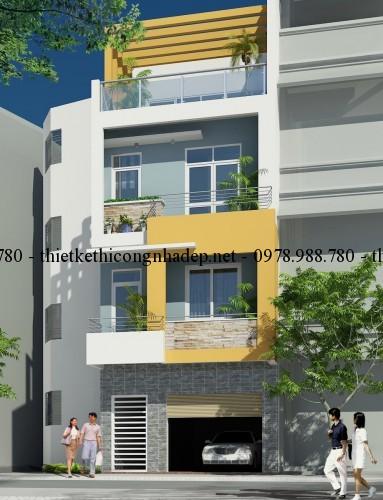 Phối cảnh nhà phố 5x12m góc 2