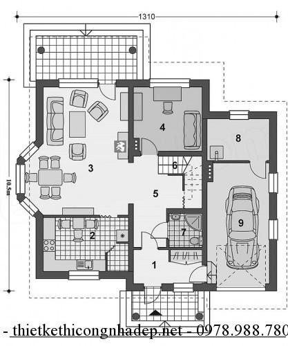 Mặt bầng tầng 1 nhà cấp 4 11x13m
