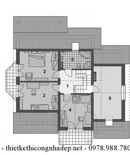 Mặt bầng tầng lửng nhà cấp 4 11x13m