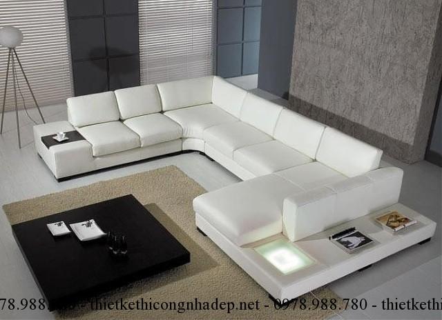 Sofa phòng khách màu trắng giúp không gian phòng thoáng mát và rộng rãi hơn