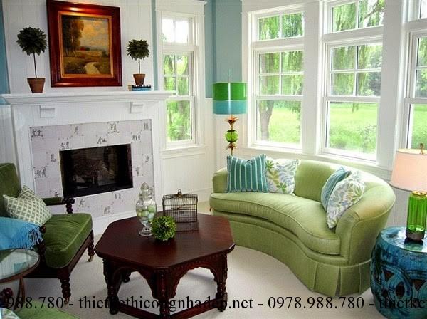 Sofa phòng khách màu xanh sẽ làm dịu đi cái nóng của mùa hè