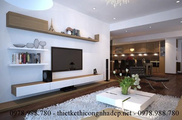 Giá sách kết hợp với kệ tivi là thiết kế nội thất đơn giản nhưng lại vô cùng tiện nghi