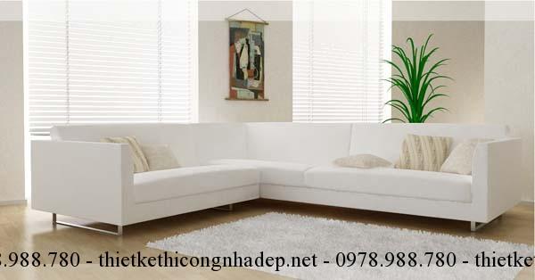 Sofa phòng khách màu trắng rất hợp với người mệnh Kim