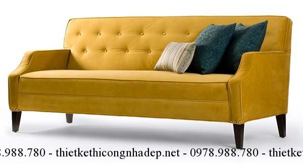Sofa phòng khách màu vàng sẽ tăng tài khí cho gia chủ