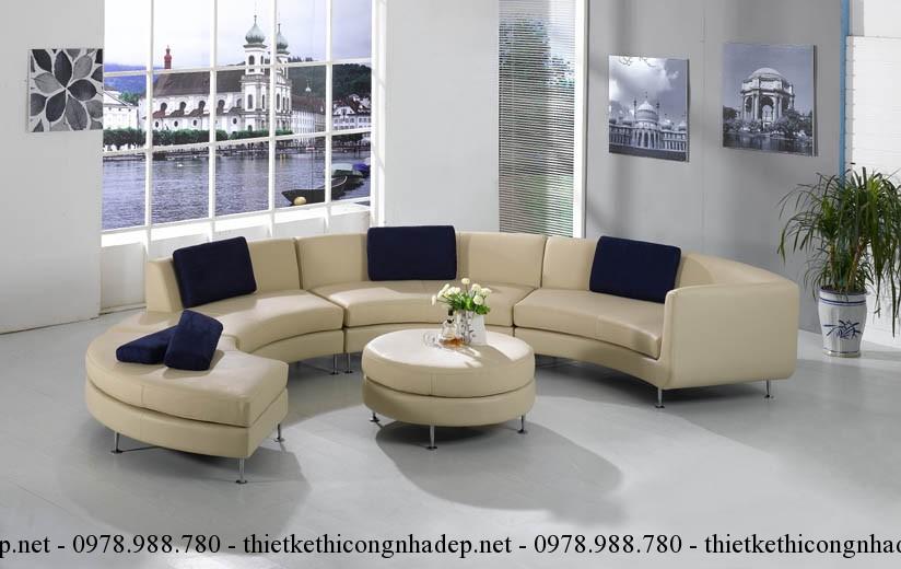 Một bộ sofa phòng khách dạng tròn sẽ rất thích hợp với phòng khách hình bán nguyệt