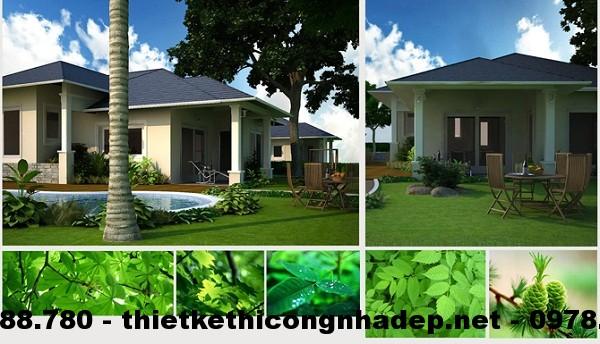 Căn biệt thự nhà vườn nổi bật bởi sắc xanh ngập tràn, tạo cảm giác về một không gian đậm chất thiên nhiên