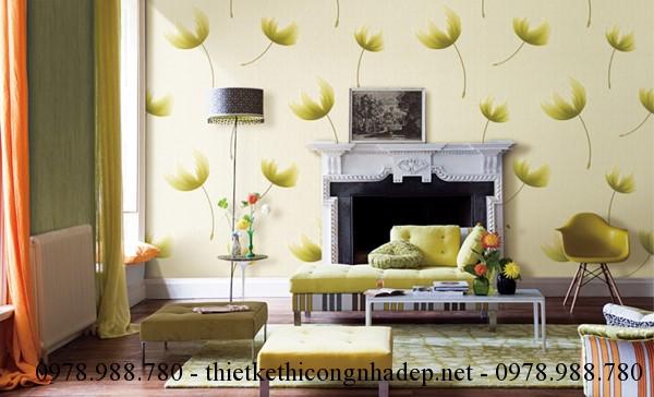 Giấy dán tường có họa tiết hoa lá cành
