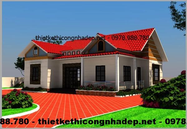 Mẫu thiết kế nhà biệt thự vườn 1 tầng mái thái 12x14m