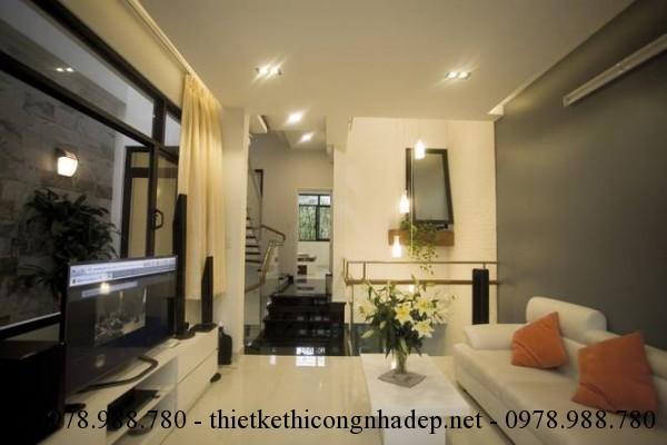 Phòng khách nhà phố 5x12m